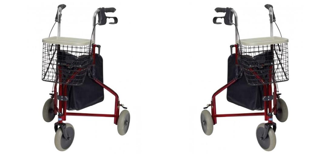 Andador con tres ruedas y cesta