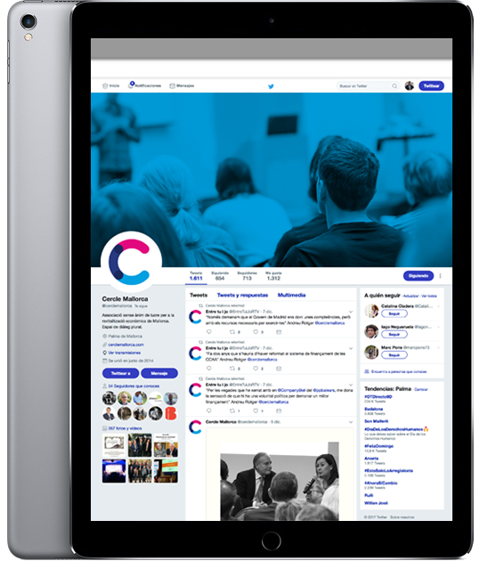 Twitter Cercle Economia en iPad