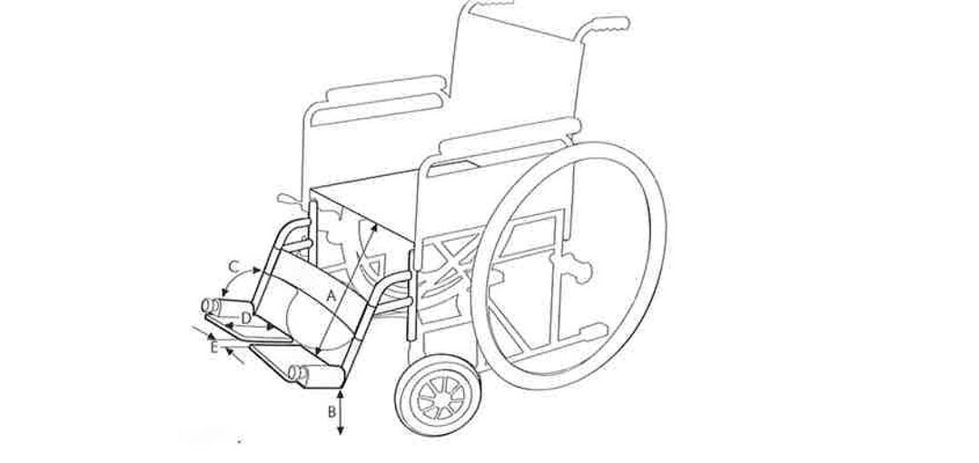 Dimensiones para reposapíes de una silla de ruedas