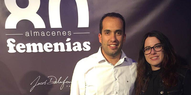 Sabina Rodríguez y David Ávila en el aniversario de Femenías en representación de Edificam